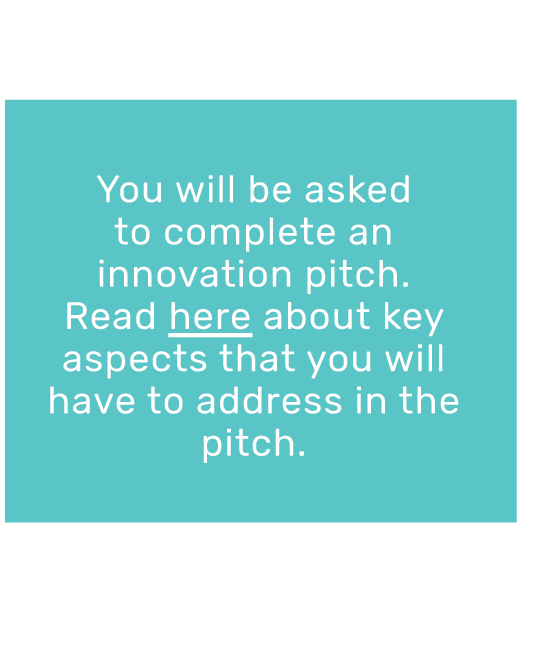 You will be asked to complete an innovation pitch.  Read here about key aspects that you will have to address in the pitch.