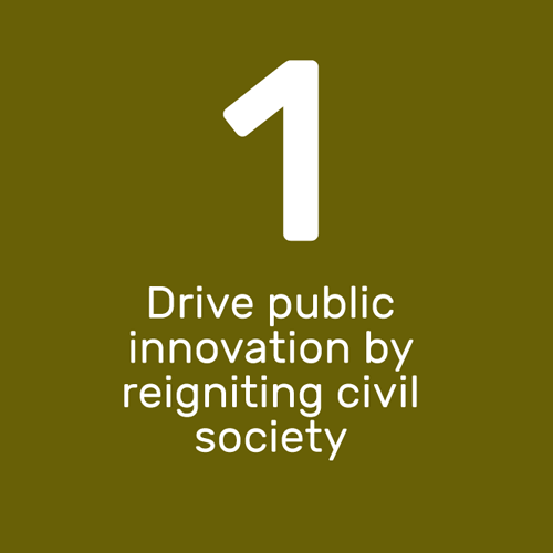 Drive public innovation by reigniting civil society