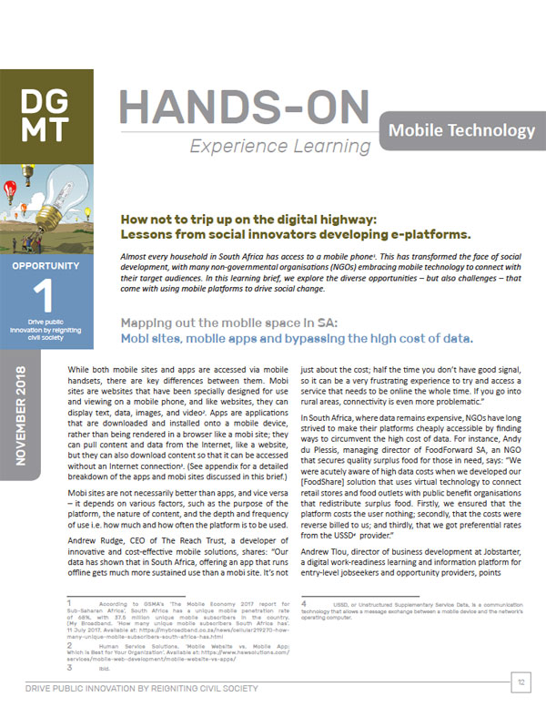 Hands-on experience learning - Mobile Technology